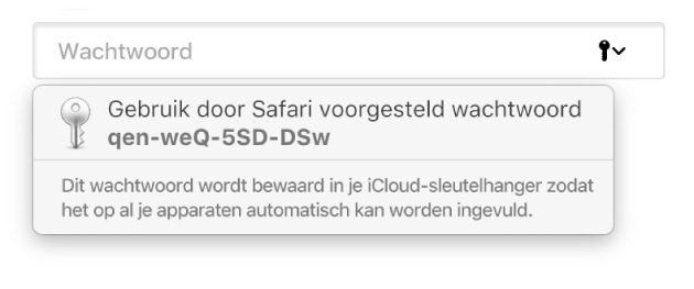 Een suggestie van Safari voor een wachtwoord, met vermelding dat het wachtwoord wordt bewaard in de iCloud-sleutelhanger van de gebruiker en dat het automatisch op de apparaten van de gebruiker wordt ingevuld.