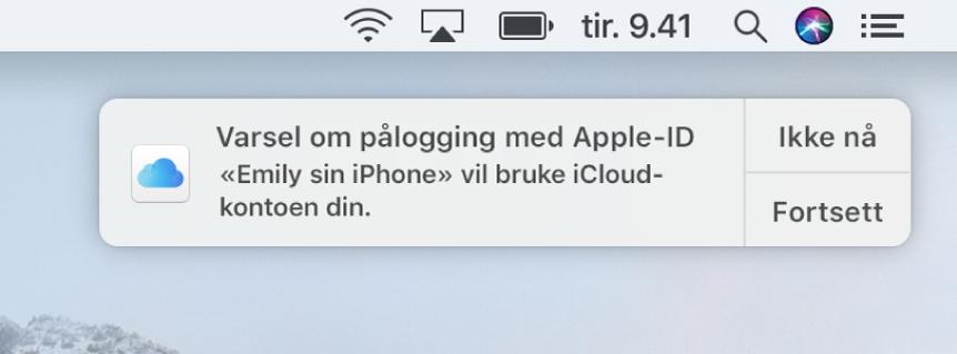 En varsling for enheten som ber om tillatelse til å bruke iCloud-nøkkelring.