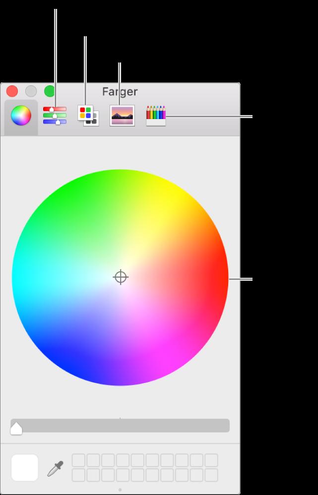 Farger-vinduet viser knappene for fargeskyveknapper, fargepaletter, bildepaletter og blyanter i verktøylinjen og fargehjulet.