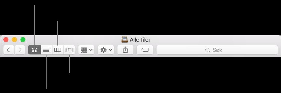 Vis-knappene i et Finder-vindu.