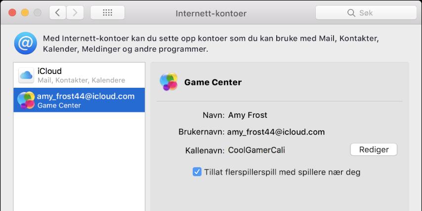 En Game Center-konto i Internett-kontoer.