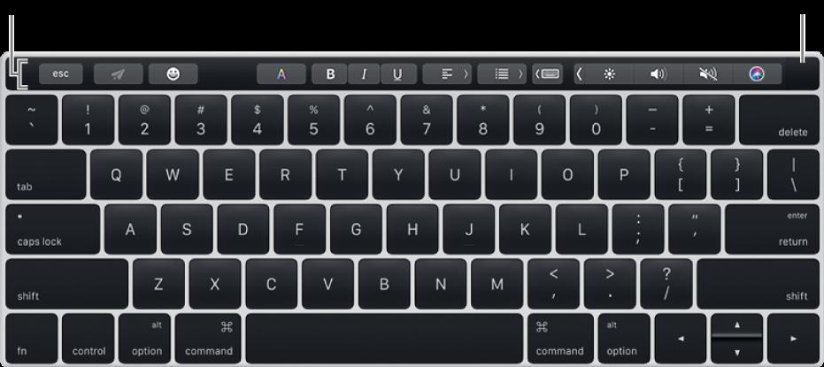 Et tastatur med Touch Bar øverst. Touch ID er helt til høyre på Touch Bar.