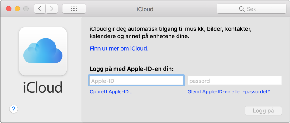 iCloud-valgpanelet, klart for innskriving av et Apple-ID-navn og -passord.