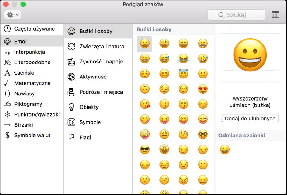Okno podglądu znaków zawierające emoji isymbole.