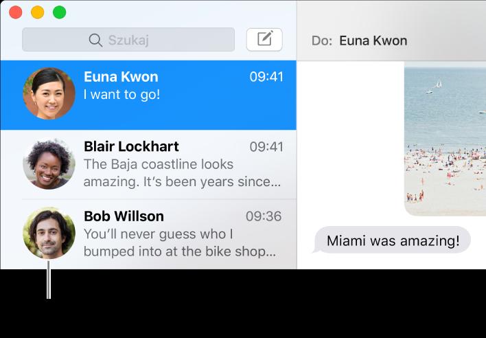 Pasek boczny aplikacji Wiadomości, zawierający obrazki osób obok ich imion.