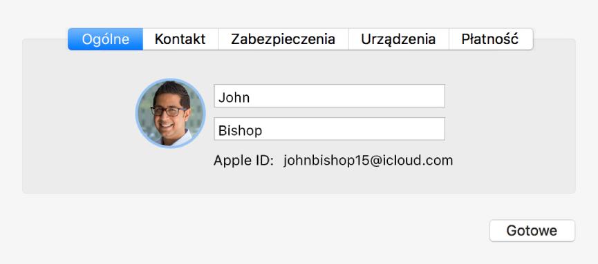 Okno dialogowe szczegółów konta wpreferencjach iCloud