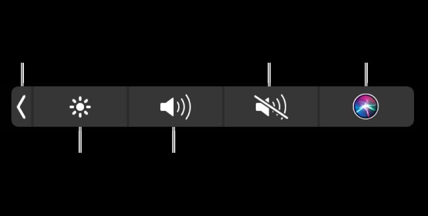 Zwinięty pasek Control Strip zawiera przyciski (od lewej do prawej) pozwalające rozwijać Control Strip, zwiększać lub zmniejszać jasność ekranu igłośność, wyciszać lub włączać dźwięk, oraz używać Siri.