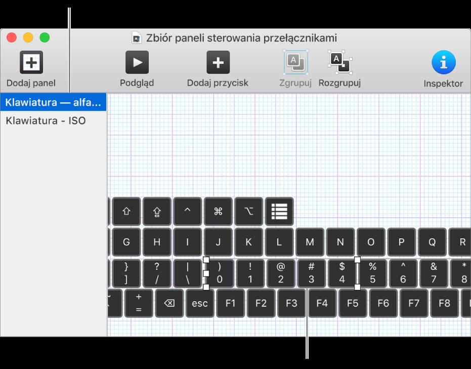 Fragment okna zbioru paneli. Po lewej widoczna jest lista paneli klawiatury, apo prawej znajdują się przyciski igrupy należące do danego panelu.