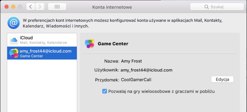 Konto Game Center wpreferencjach kont internetowych.