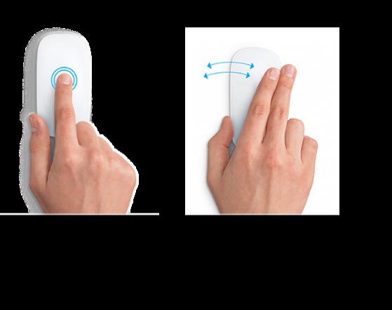 Exemplos de gestos de mouse para ampliar e reduzir uma página web e para se mover entre apps em tela cheia.