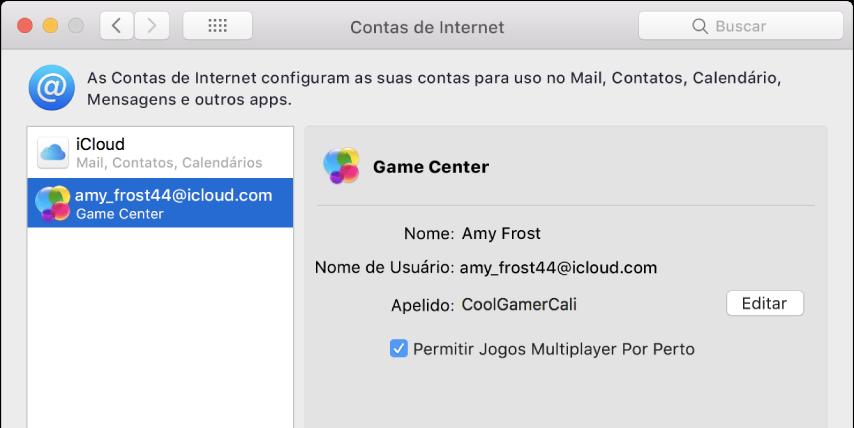 """Conta no Game Center em """"Contas de Internet""""."""