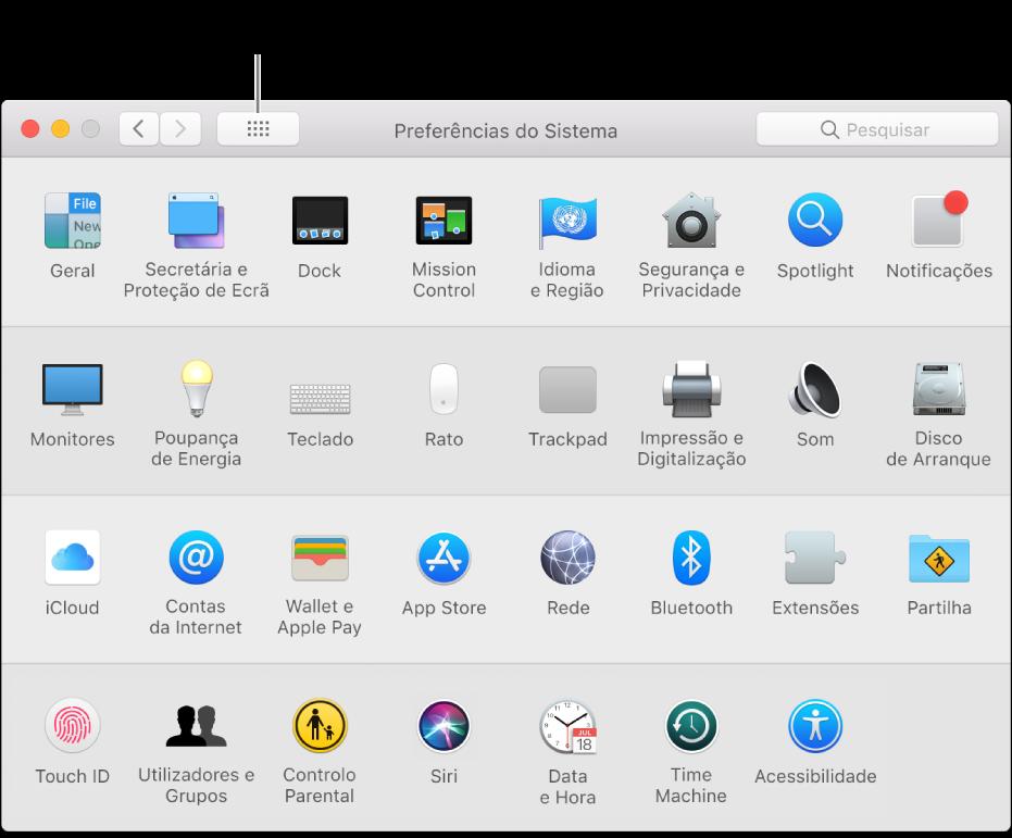 """Janela das Preferências do Sistema que mostra a grelha de ícones. Clique no botão """"Mostrar tudo"""" na barra de ferramentas da janela para ver as preferências do sistema como uma lista, ou altere o aspeto da grelha."""