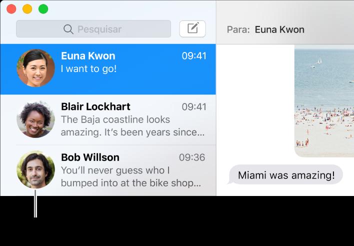Barra lateral da aplicação Mensagens com as imagens das pessoas ao lado dos respetivos nomes.