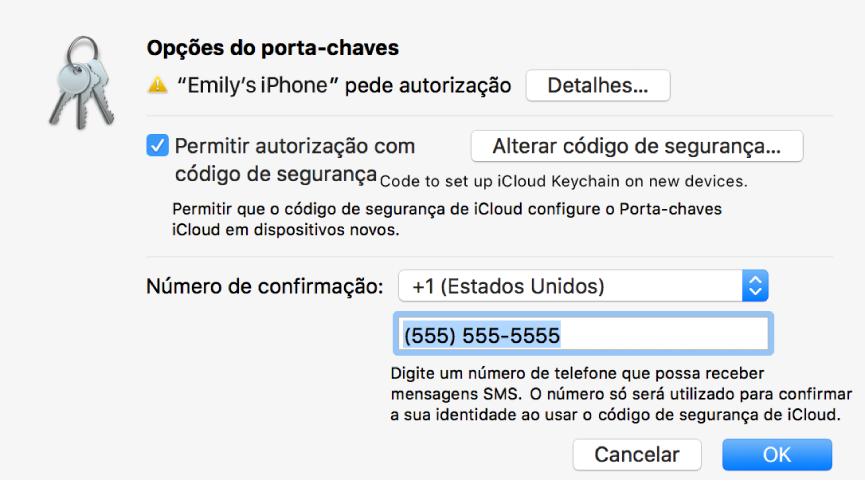 A caixa de diálogo das Opções do Porta-chaves iCloud com o nome do dispositivo que requer aprovação e um botão Detalhes junto ao mesmo.