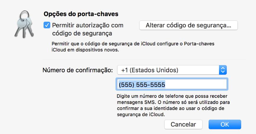 Caixa de diálogo das Opções do Porta-chaves iCloud com opção selecionada para permitir a aprovação com o código de segurança, o botão para alterar o código de segurança e os campos para alterar o número de confirmação.