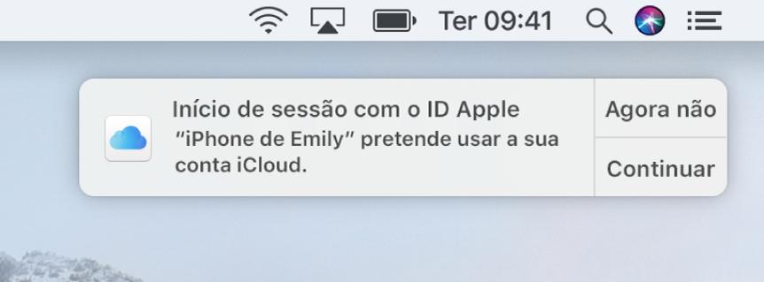 Uma notificação para o dispositivo que requer a aprovação do Porta-chaves iCloud.