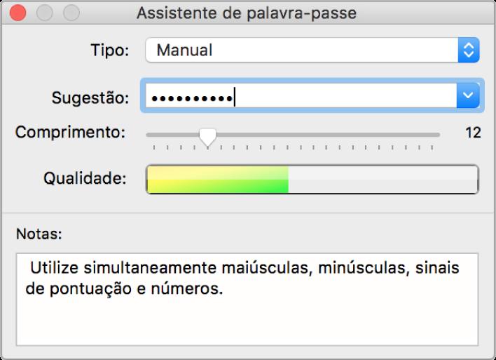 """A janela do """"Assistente de palavra-passe"""" a mostrar opções para criar uma palavra-passe."""
