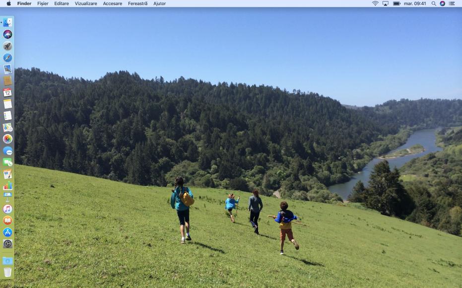 Un exemplu de desktop cu Dock-ul poziționat la marginea din stânga ecranului și o imagine a spațiului de lucru personală.