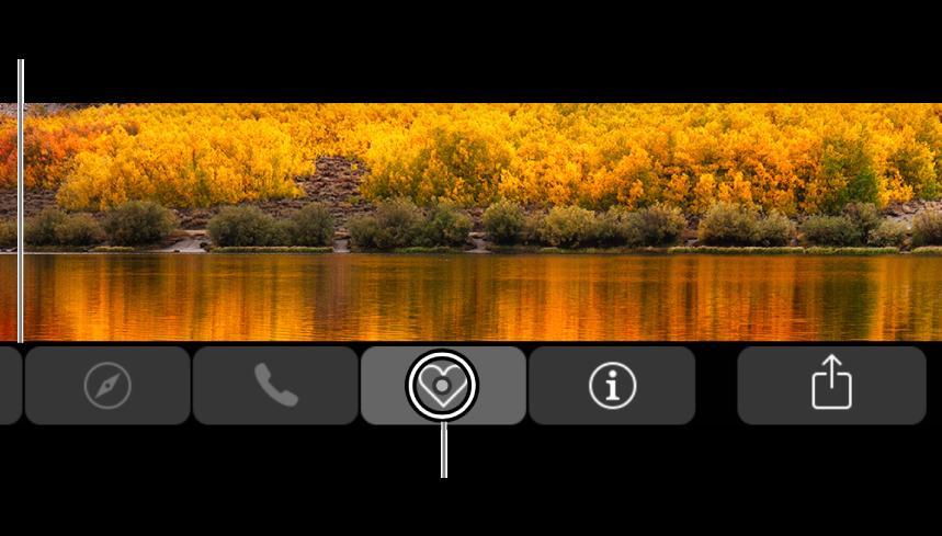 Увеличенная панель Touch Bar вдоль нижнего края экрана. Кружок вокруг кнопки меняется, когда кнопка выбрана.