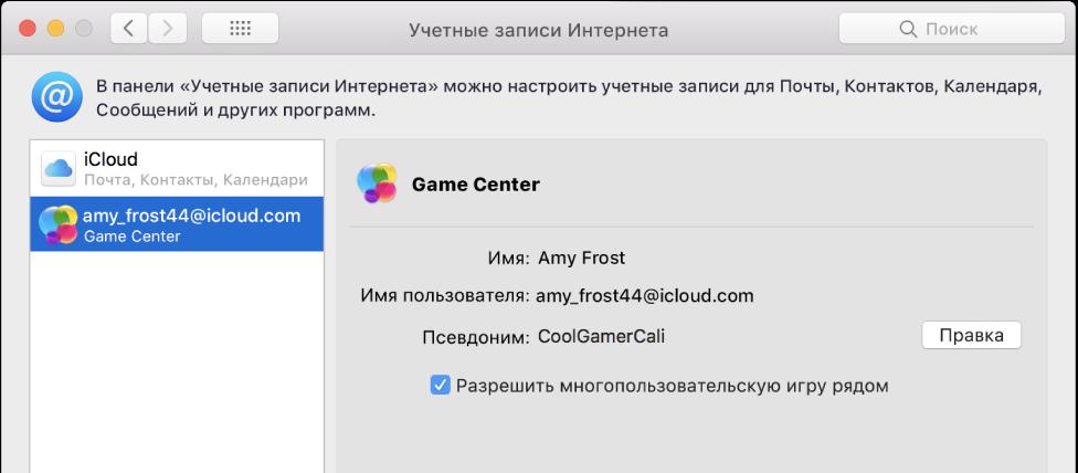 Учетная запись Game Center в «Учетных записях Интернета».