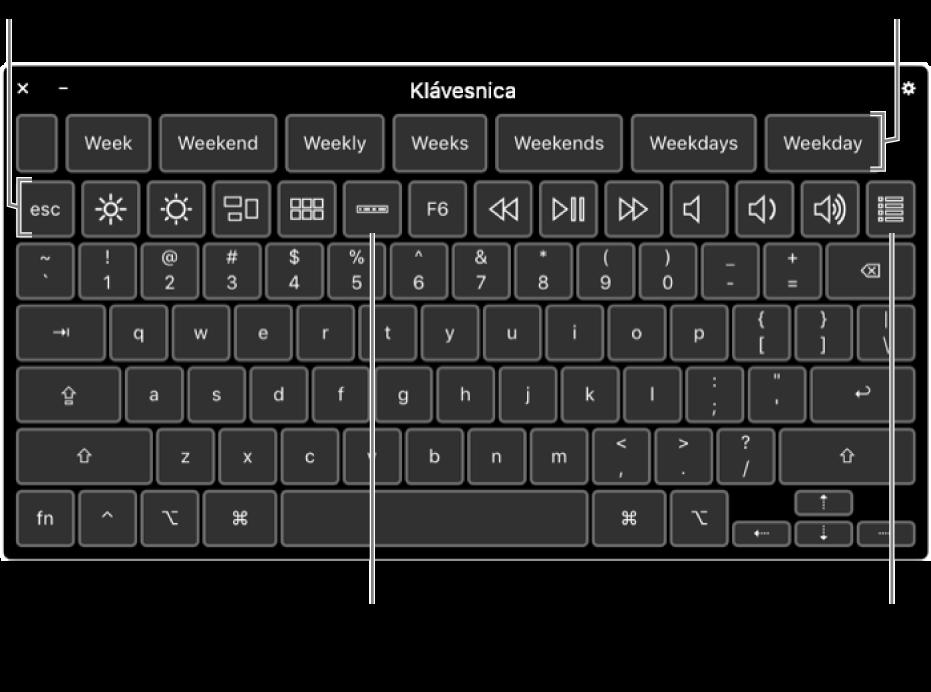 Klávesnica prístupnosti s návrhmi pre písanie v hornej časti. Nižšie je rad tlačidiel pre systémové ovládacie prvky, napríklad na úpravu jasu displeja, zobrazenie Touch Baru na obrazovke a zobrazenie vlastných panelov.