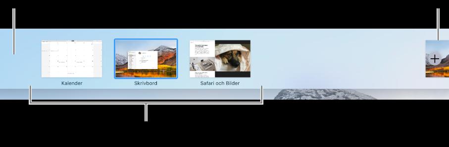 Spaces-fältet med en skrivbordsyta, program i helskärmsläge och i delad vy samt lägg till-knappen för att skapa ett skrivbord.
