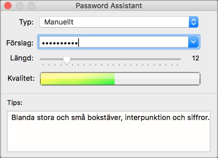 Lösenordsassistent-fönster med alternativ för att skapa ett lösenord.