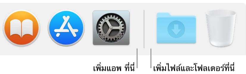 เส้นตัวแยกของ Dock อยู่ระหว่างแอพ (บนด้านซ้าย) และไฟล์และโฟลเดอร์ (บนด้านขวา)