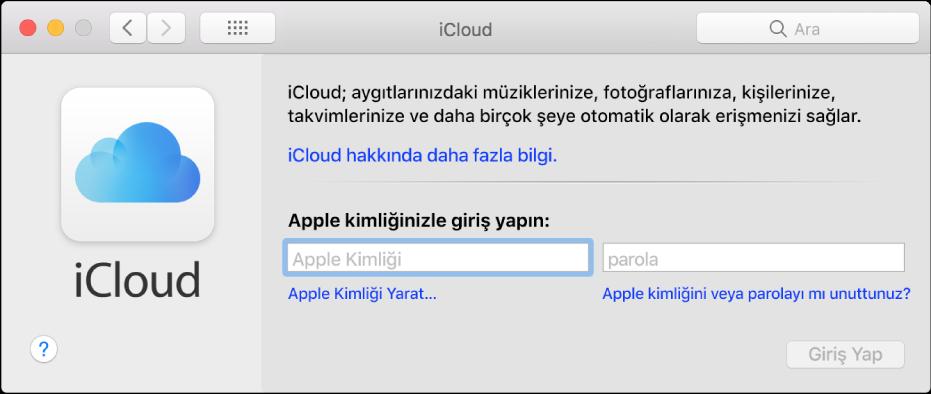Apple kimliği ve parolası girişi için hazır iCloud tercihleri.