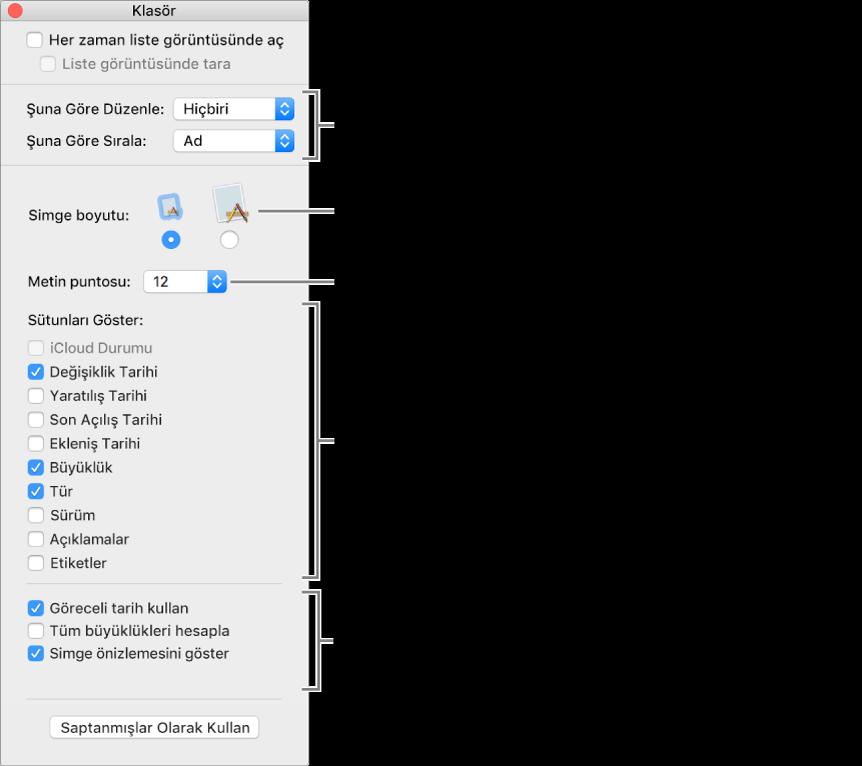 Liste görüntüsü ve Cover Flow seçeneklerinin listelendiği pencere.