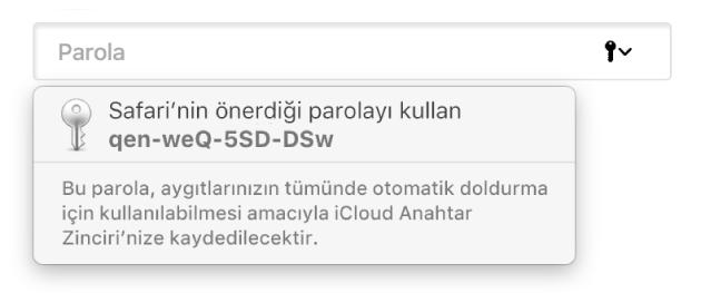 Kullanıcının iCloud Anahtar Zinciri'ne kaydedileceğini ve aygıtlarındaki Otomatik Doldur tarafından kullanılabileceğini belirten, Safari tarafından önerilen bir parola.