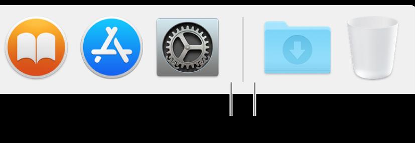Uygulamalar (solda), dosyalar ve klasörler (sağda) arasındaki Dock ayırıcı çizgisi.