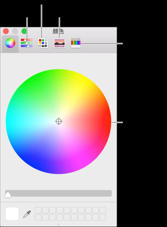 """""""颜色""""窗口,显示工具栏中的""""颜色滑块""""、""""颜色调板""""、""""图像调板""""和""""铅笔""""按钮以及色轮。"""