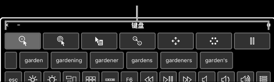 """间歇操作按钮位于""""辅助功能键盘""""的顶部。"""
