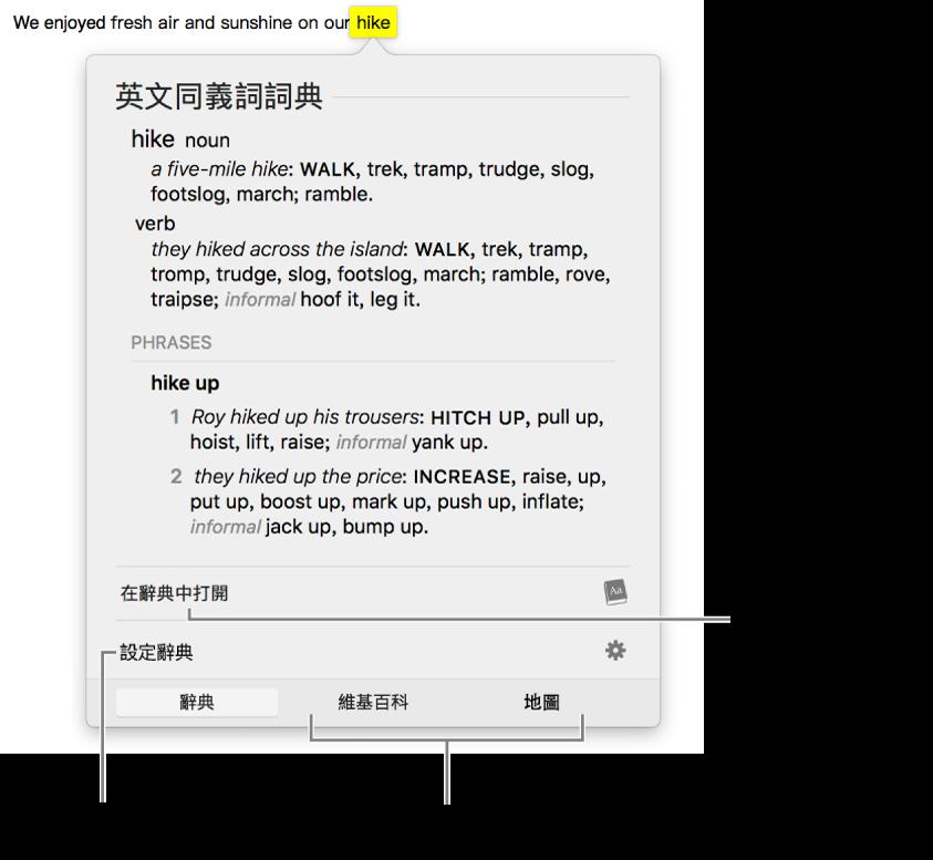 顯示某個單字其「辭典」和「同義字」定義的「查詢」視窗。