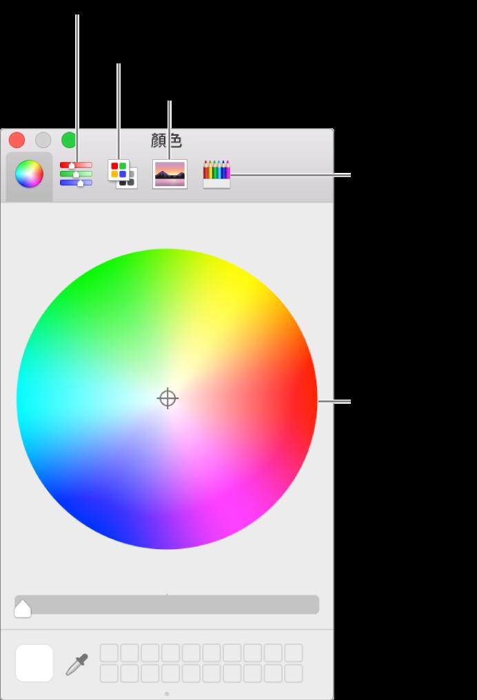 「顏色」視窗在工具列中顯示以下按鈕:「顏色」滑桿、色盤、影像色盤和鉛筆,以及色輪。