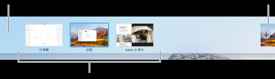Space 列,其中顯示桌面空間、App(全螢幕和 Split View)以及可製作 Space 的「加入」按鈕。