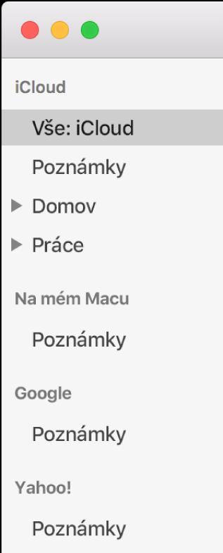 Seznam účtů vPoznámkách súčty iCloud, Na mém Macu adalšími, např. Google aYahoo