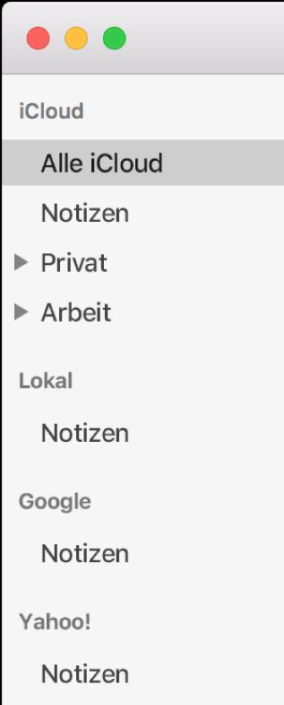 """Die Liste mit der App """"Notizen"""" verwendeten Accounts mit iCloud, """"Auf meinem Mac"""" und anderen Accounts wie Google und Yahoo."""