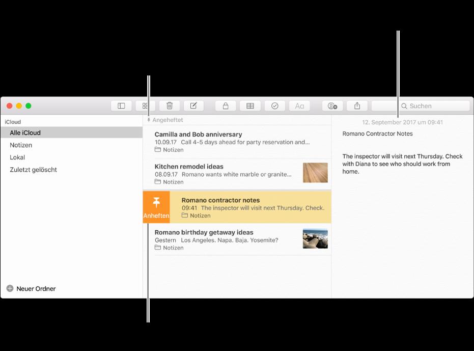 """Das Fenster """"Notizen"""" mit der Liste der Notizen in der Mitte, angehefteten Notizen oben in der Liste und der Stecknadel-Taste auf einer Notiz. Der Inhalt der Notiz wird rechts mit dem Datum oben angezeigt. Durch Klicken auf das Datum kann zwischen Erstellungs- und Bearbeitungsdatum gewechselt werden."""