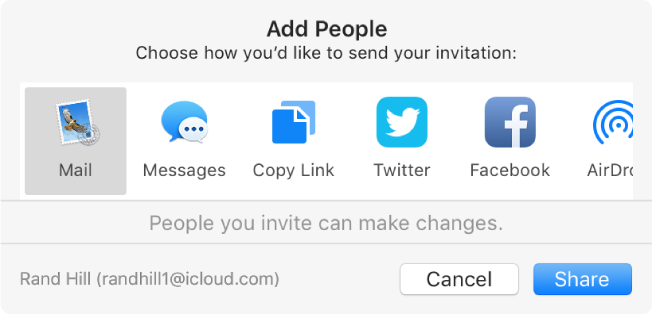 The Add People dialog, where you can choose how to send the invitation to add people to a note.