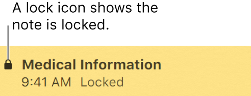 Locked note with a lock icon at the far left.