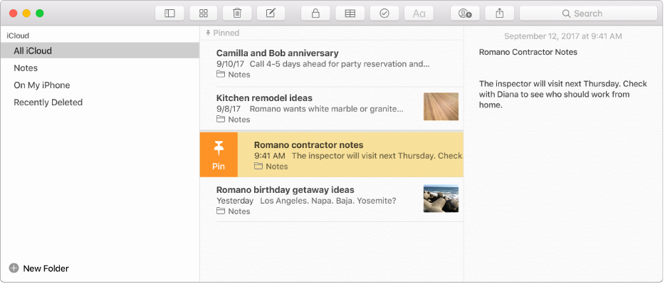 The Notes window with the sidebar on the left, the list of notes in the middle, and the note content on the right.