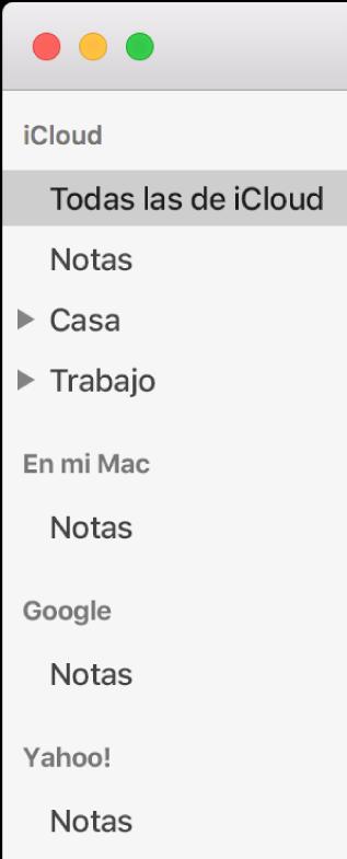 """La lista de cuentas en Notas mostrando iCloud, """"En mi Mac"""" y otras cuentas como Google y Yahoo."""