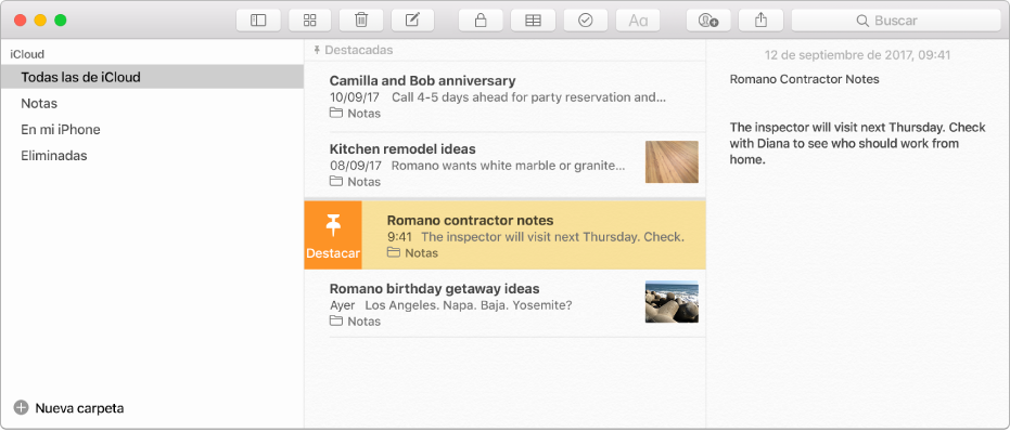 La ventana de Notas con la barra lateral en la izquierda, la lista de notas en medio y el contenido de la nota a la derecha.