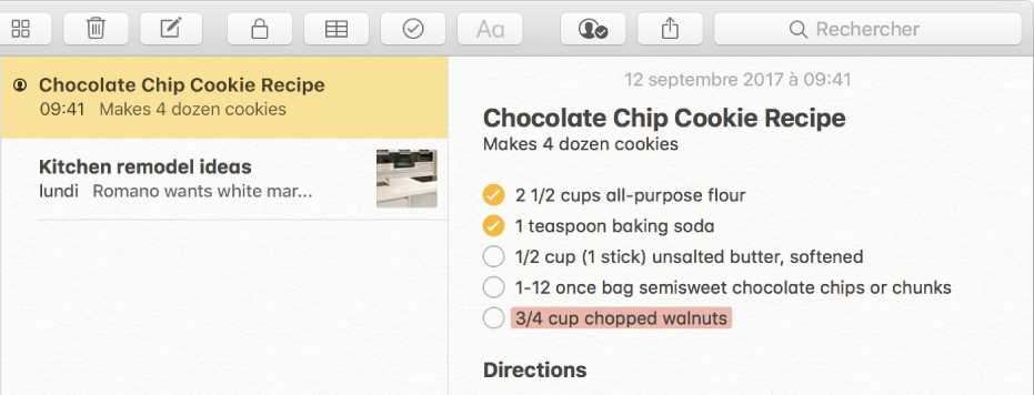 Une note contenant une recette de cookies aux pépites de chocolat. L'icône Personnes à gauche du nom d'une note dans la liste des notes indique que des personnes ont été ajoutées à la note pour collaborer.