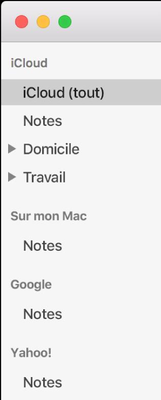 La liste des comptes dans Notes avec iCloud, Sur mon Mac et d'autres comptes comme Google et Yahoo.