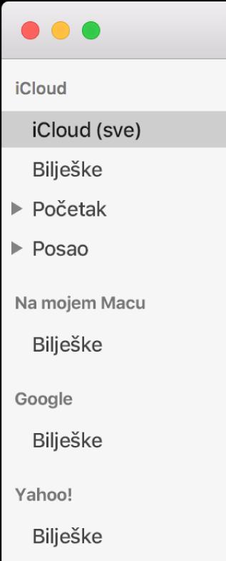 Popis računa u Bilješkama prikazuje iCloud, Na mojem Macu i ostale račune kao što su Google i Yahoo.