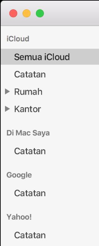 Daftar akun di Catatan menampilkan iCloud, Di Mac Saya, dan akun lainnya seperti Google and Yahoo.