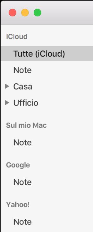 La lista di account in Note, in cui vengono mostrati iCloud, Sul mio Mac e altri account, come Google e Yahoo.
